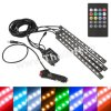 Kit 4 benzi LED RGB interior auto multicolore cu telecomanda
