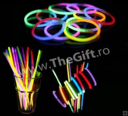 Set 100 bratari luminoase fluorescente multicolore