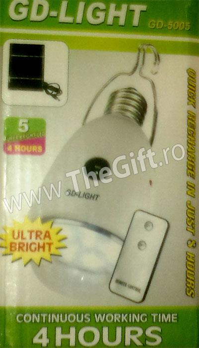 Bec cu 5 LEDuri SMD superluminoase si incarcare solara