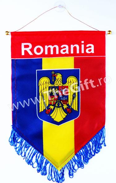 Fanion tricolor Romania, cu stema