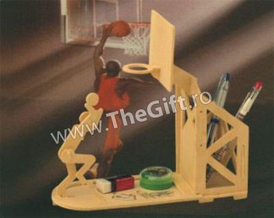 Puzzle 3D lemn Suport de pixuri si cos de baschet