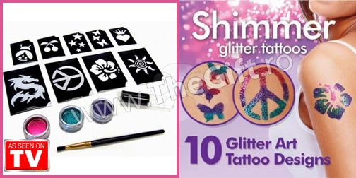 Set tatuaje semipermanente cu sclipici