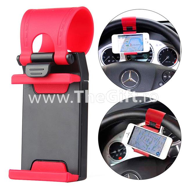 Suport pentru telefon, GPS, cu prindere pe volan