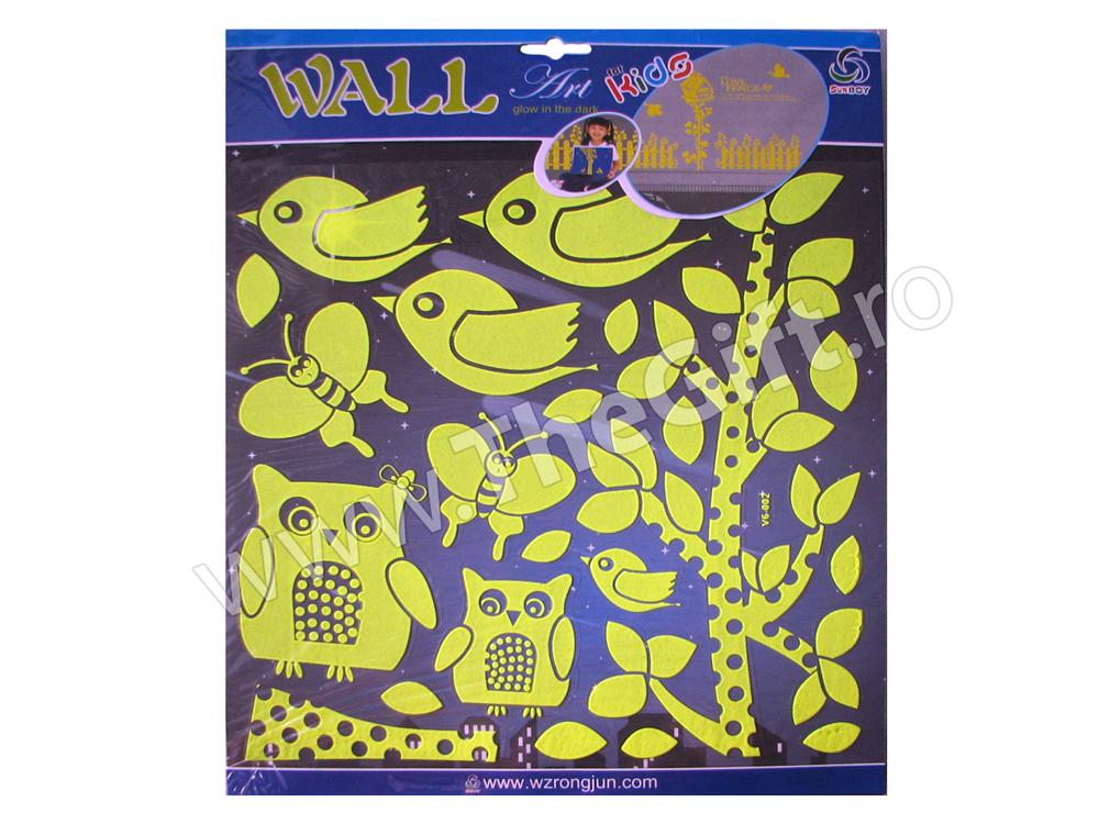 Decoratiuni autocolante de perete fosforescente Bufnite