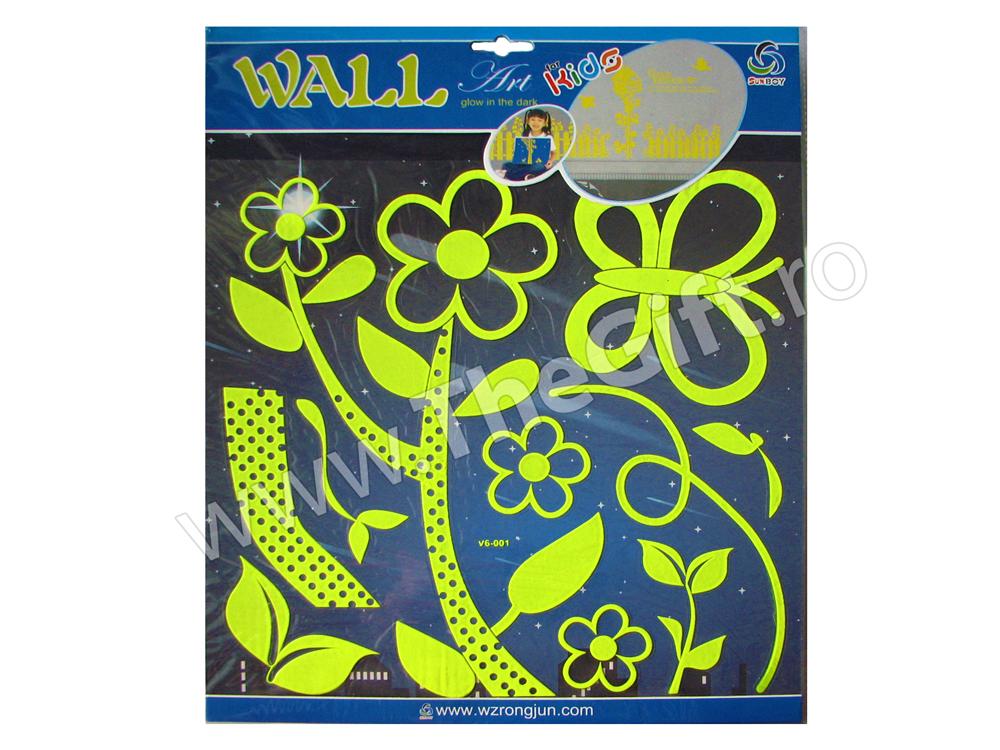 Decoratiuni autocolante de perete fosforescente Flori