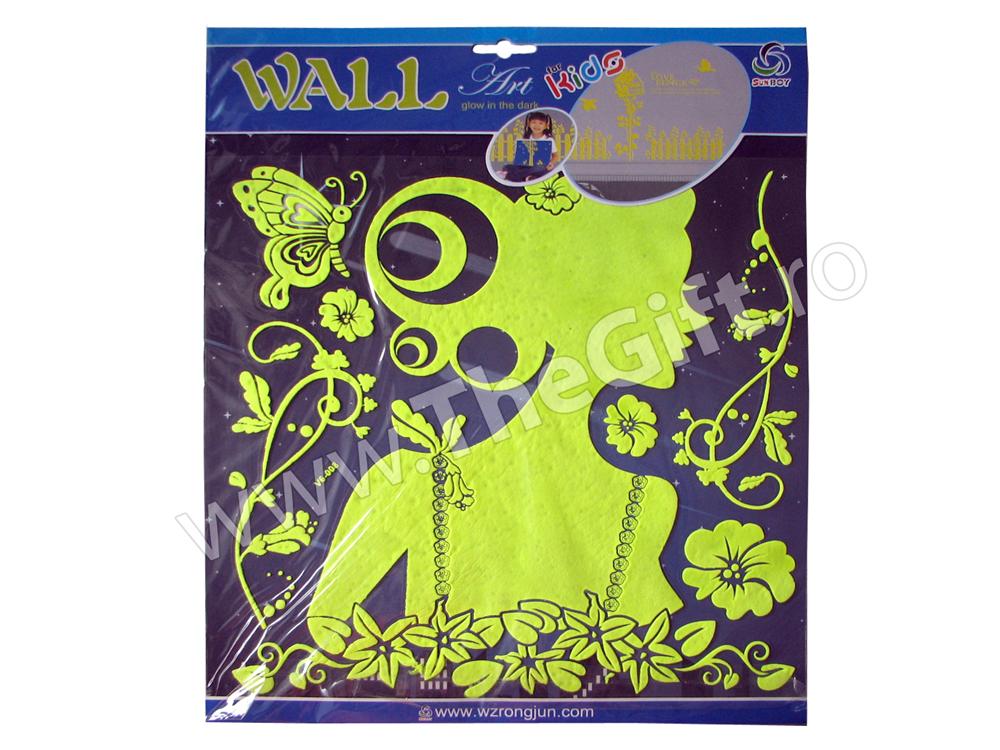 Decoratiuni autocolante de perete fosforescente Tanara si flori