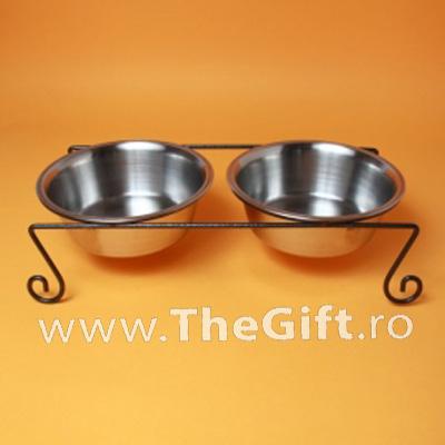 Set 2 boluri metalice cu suport, pentru caini