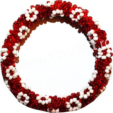Bratara alb rosie cu margele