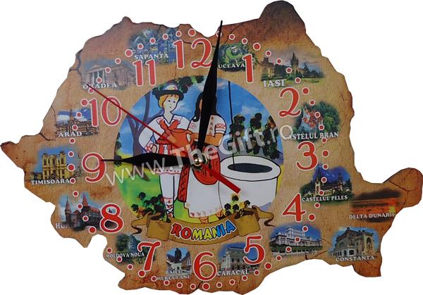 Ceas suvenir harta turistica a Romaniei