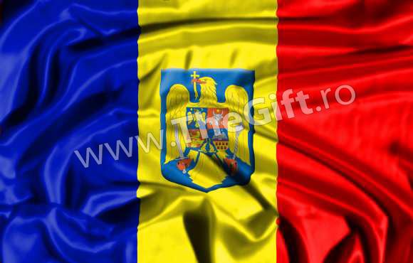Drapelul Romaniei, cu stema