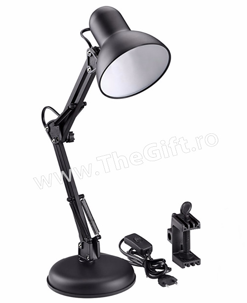 Lampa de birou metalica, cu brat flexibil