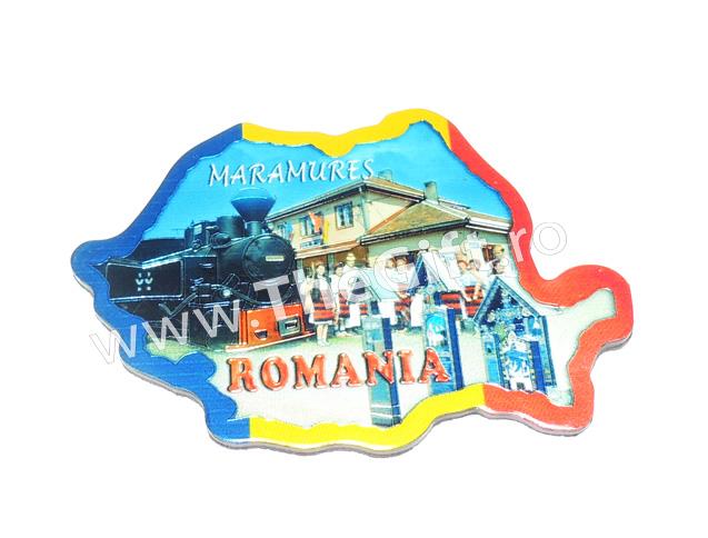Suvenir magnet, harta Romaniei-Maramures