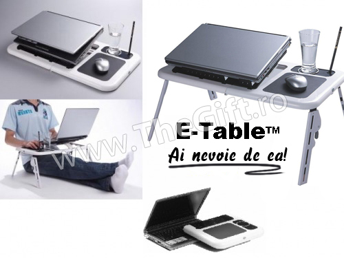 E Table masa laptop cu coolere, suport pahar si mouse pad