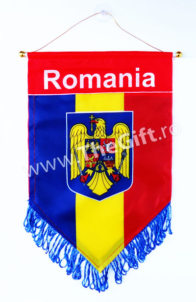 Mini fanion tricolor Romania, cu stema