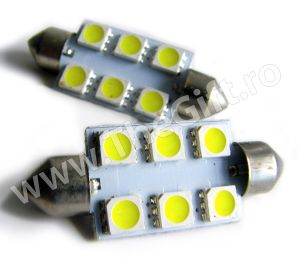 Set 2 becuri led T10 cu 6 SMD