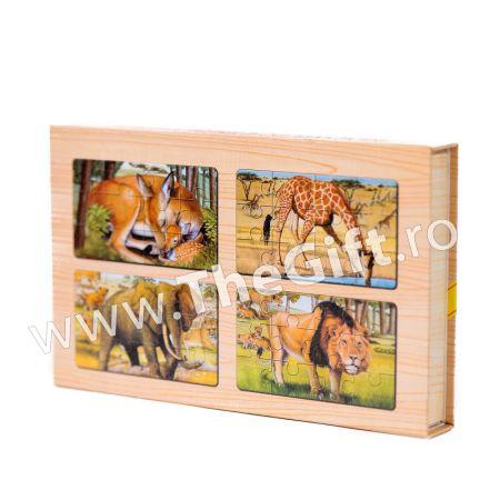 Set 4 puzzle-uri din lemn, animale si pasari,avioane, catelusi