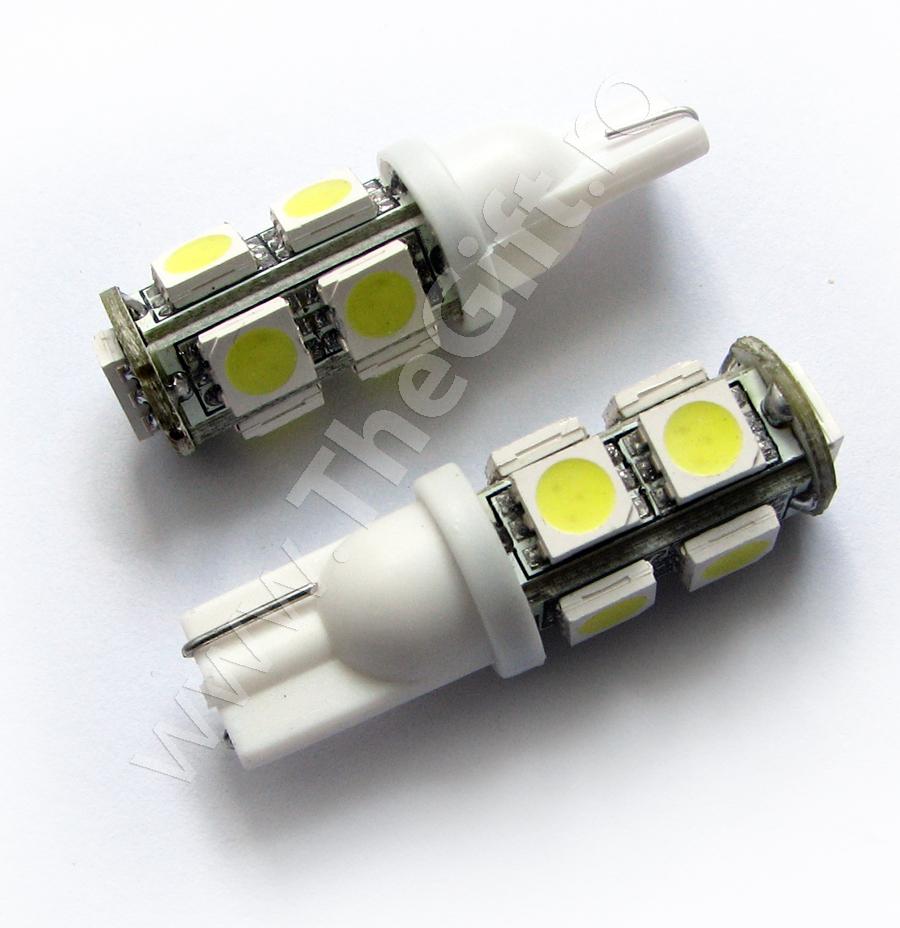 Set becuri T10 cu 9 LED-uri SMD