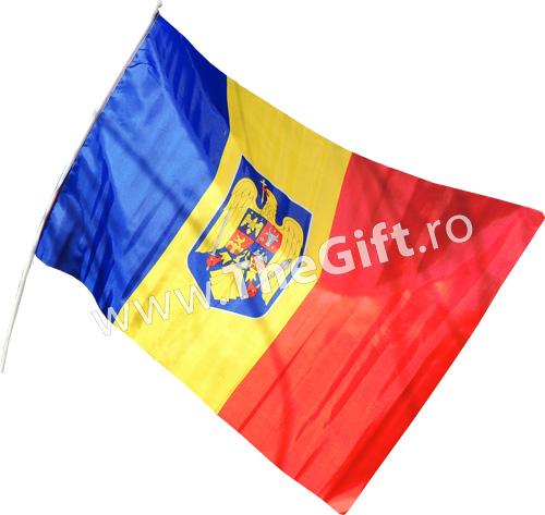 Drapelul Romaniei cu stema si maner