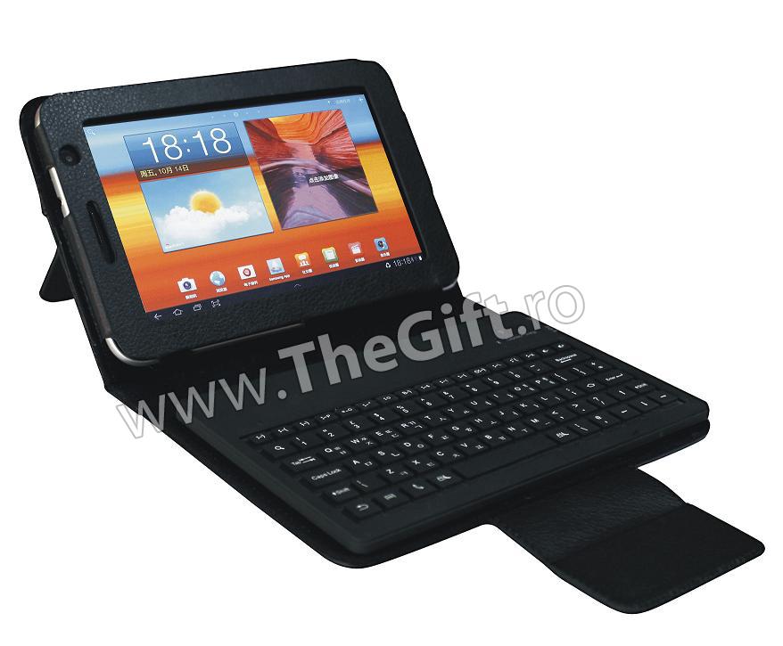 Husa din piele cu tastatura Bluetooth pentru tableta de 7 inch