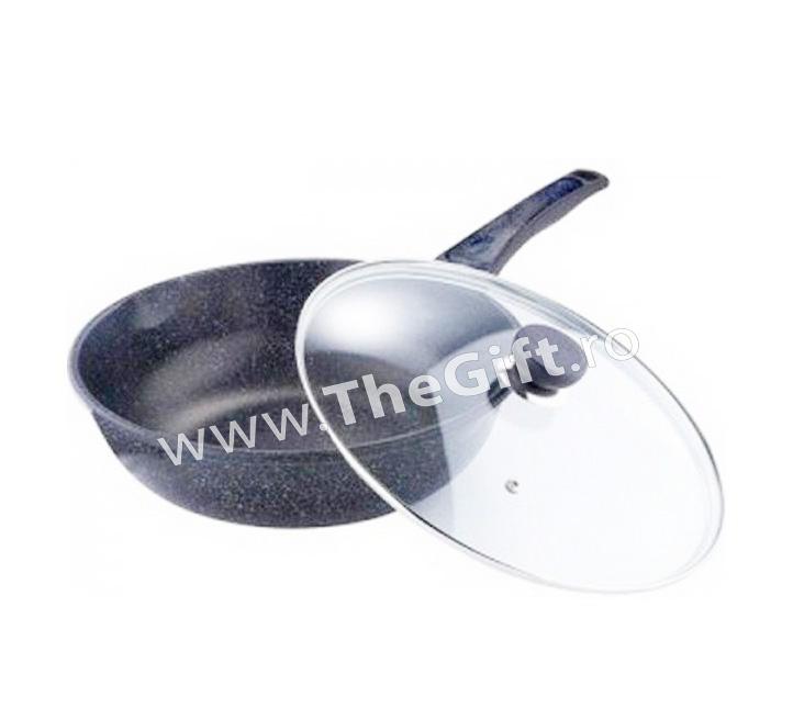Tigaie wok Grunberg placata cu ceramica, cu capac